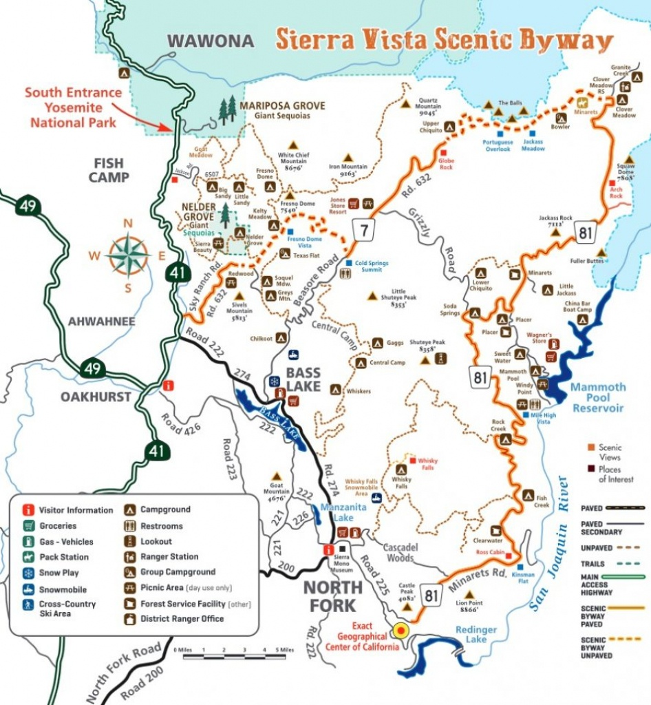 Map Of Sierra Vista Scenic Byway | - Scenic Byways California Map