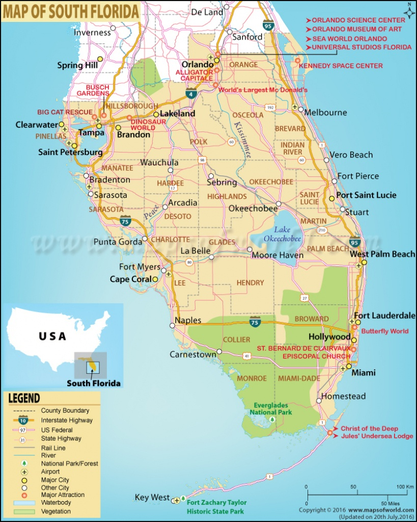 Map Of South Florida, South Florida Map - Map Of Florida Showing The Everglades