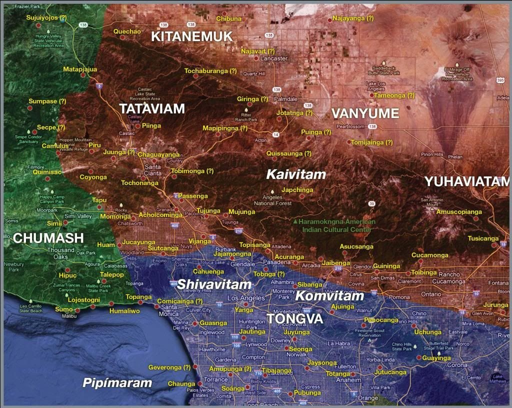 Map Of Southern California Tribes   Rock Art, Gabrielino-Tongva - Southern California Native American Tribes Map