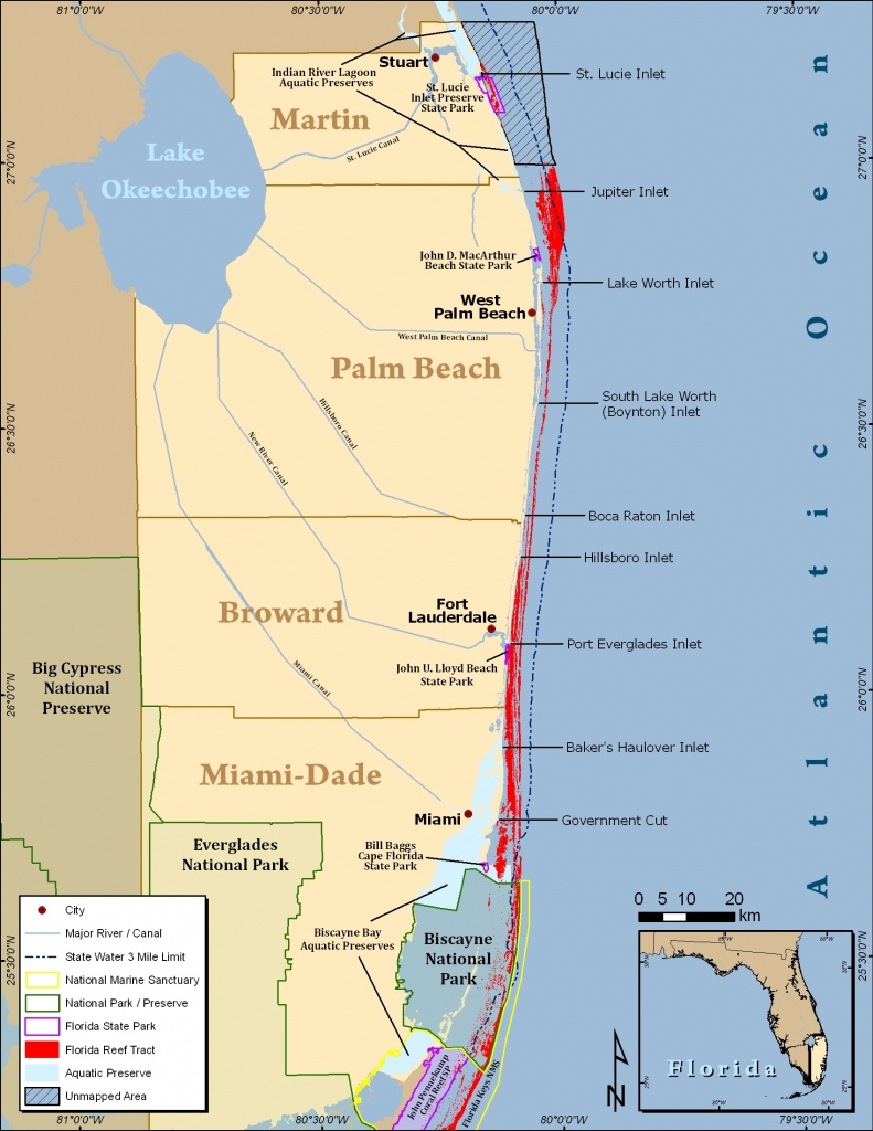 Map Of Southern Florida Coast And Travel Information | Download Free - Map Of South Florida Beaches