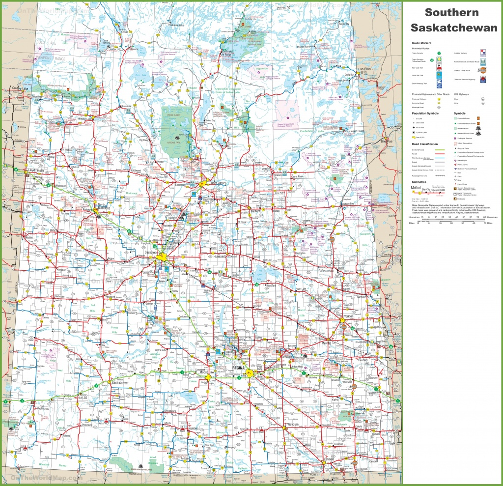 Map Of Southern Saskatchewan - Printable Alberta Road Map