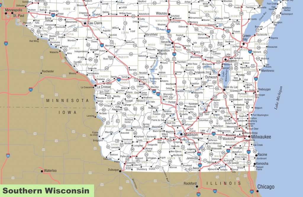 Map Of Southern Wisconsin - Wisconsin Road Map Printable