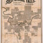 Map Of Spokane Falls. Spokane County, Washington. Compiled & Drawn   Downtown Spokane Map Printable