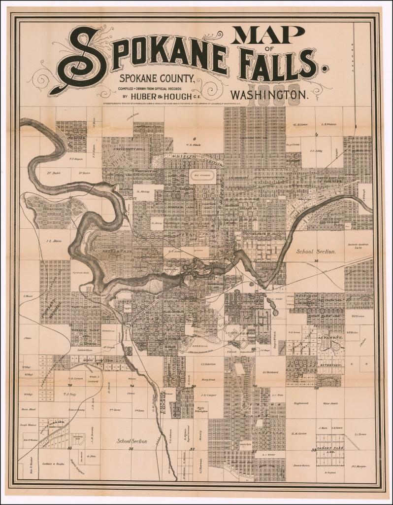 Map Of Spokane Falls. Spokane County, Washington. Compiled & Drawn - Downtown Spokane Map Printable