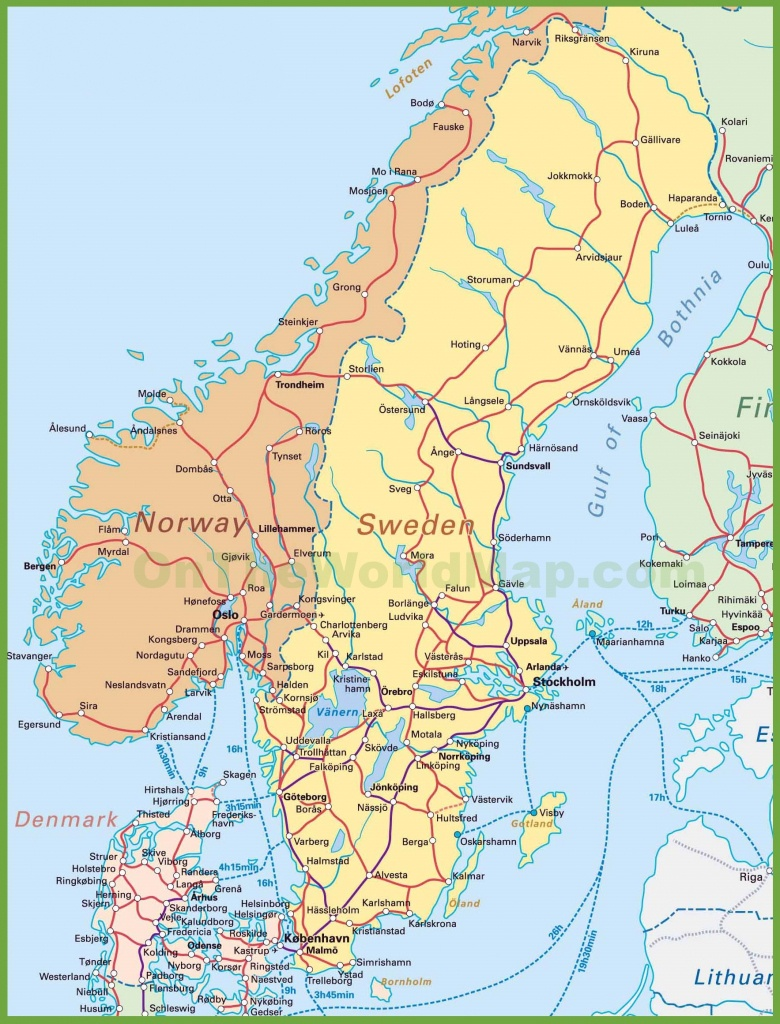 Map Of Sweden, Norway And Denmark - Printable Map Of Norway With Cities