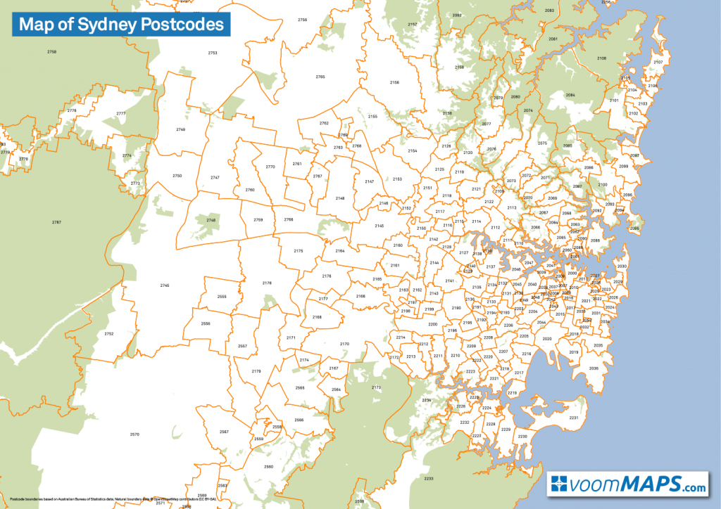 Map Of Sydney Postcodes – Voommaps - Printable Map Of Sydney Suburbs