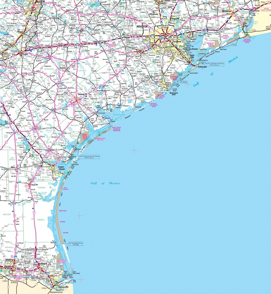 Map Of Texas Coastal Cities And Travel Information | Download Free - Crystal Beach Texas Map