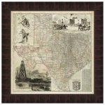 Map Of Texas Framed Print   Texas Map Framed Art