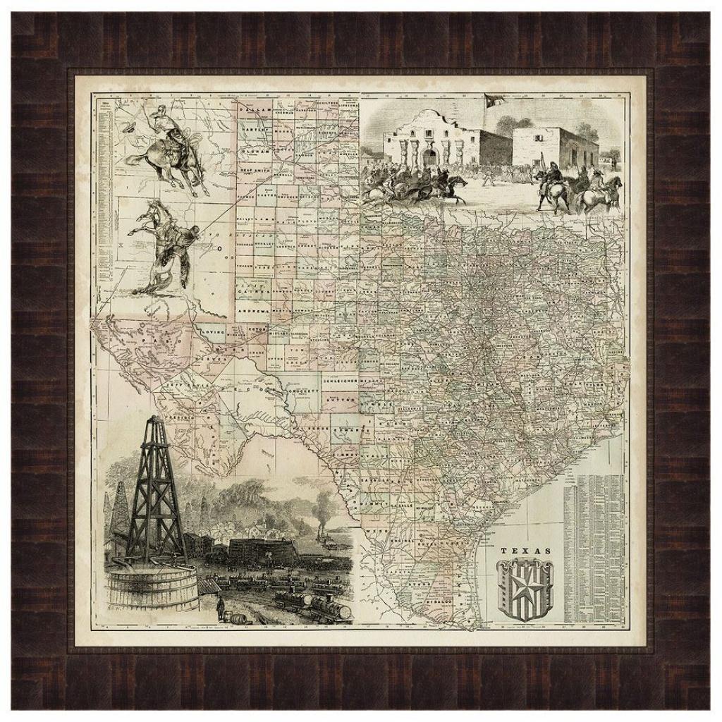 Map Of Texas Framed Print - Texas Map Framed Art