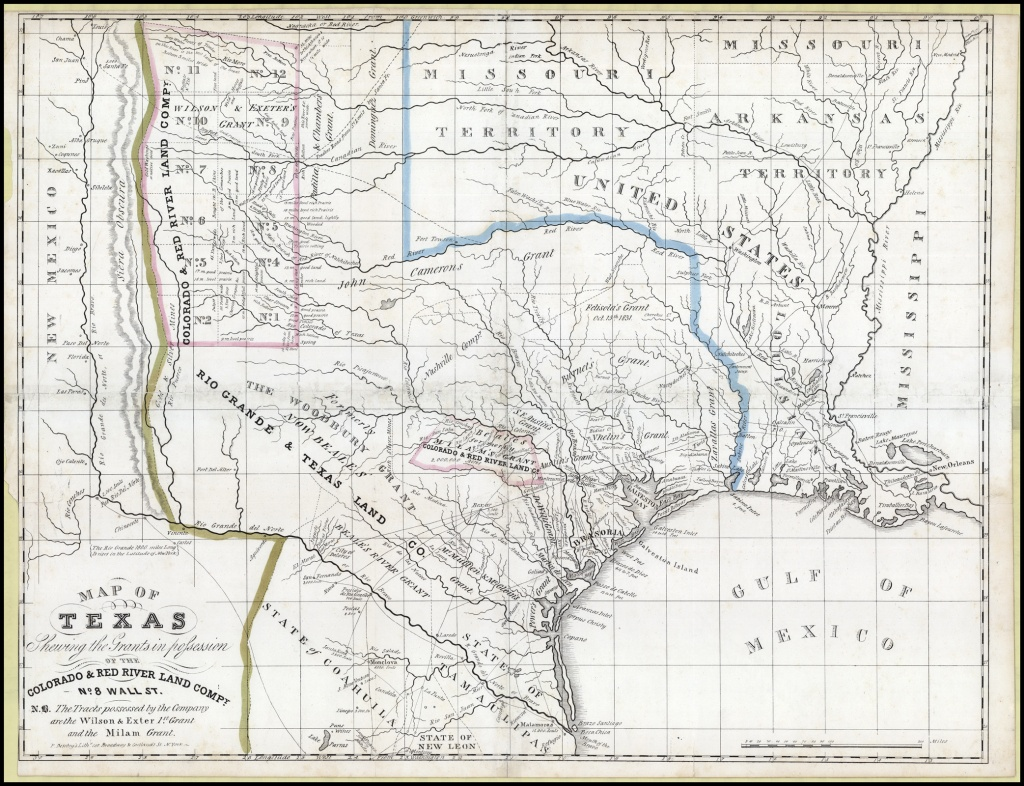 Map Of Texas Shewing The Grants In Possession Of The Colorado & Red - Texas Land Grants Map