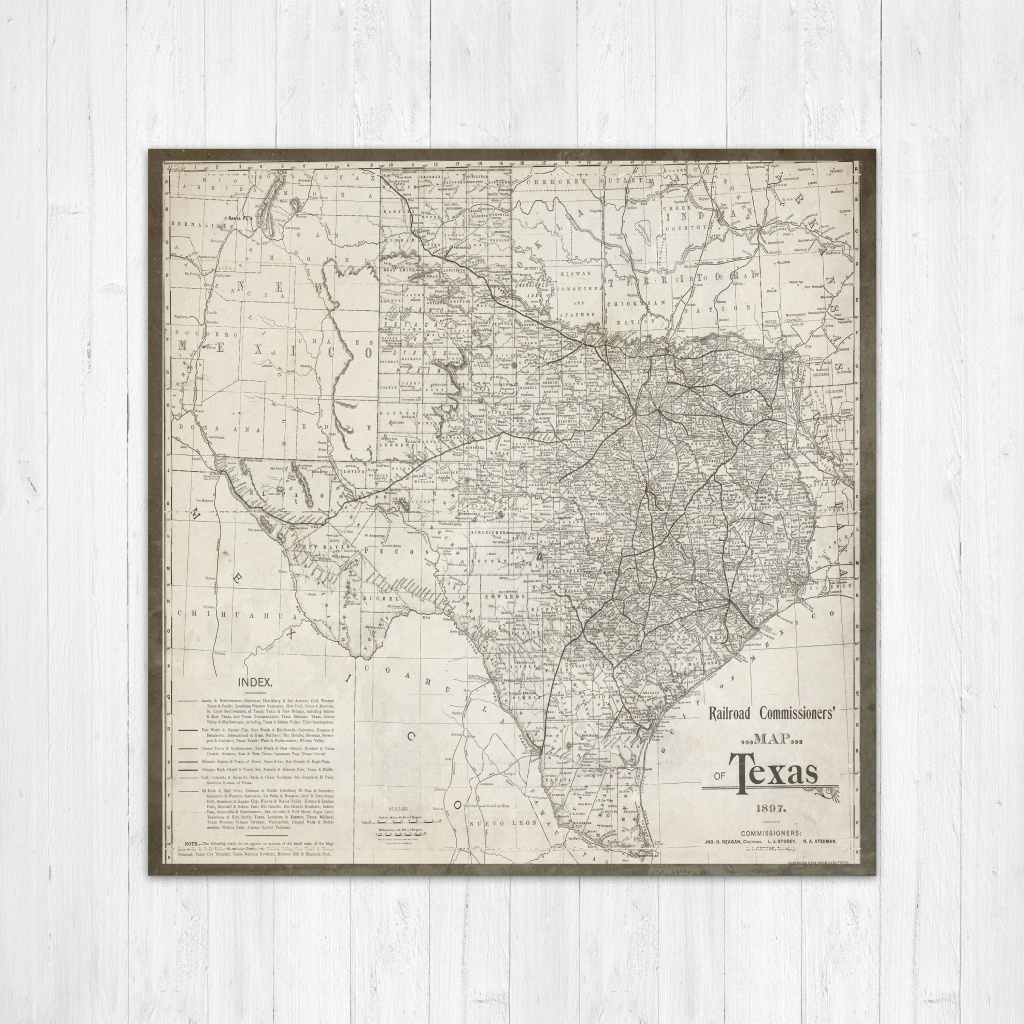 Map Of Texas Texas Canvas Map Texas State Map Antique Texas   Etsy - Old Texas Maps Prints