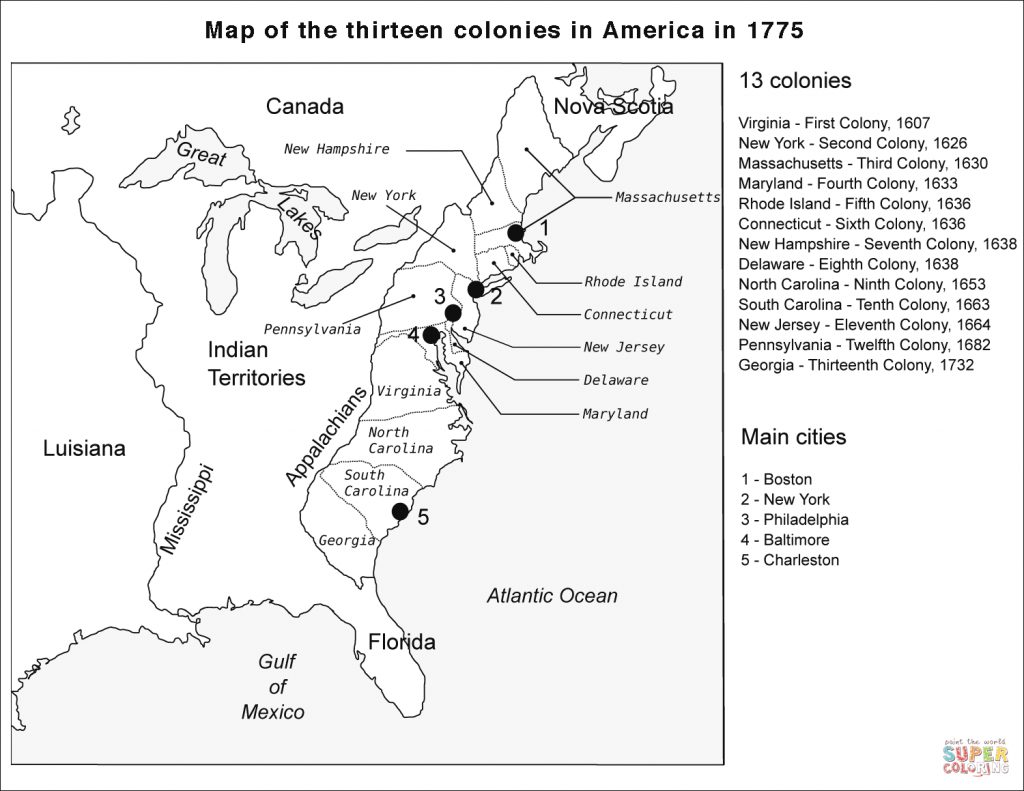 Map Of The 13 Colonies And Cities #191819 - Printable Map Of The 13 Colonies With Names