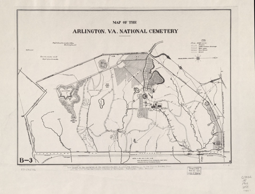 Map Of The Arlington, Va. National Cemetery | Library Of Congress - Arlington Cemetery Printable Map