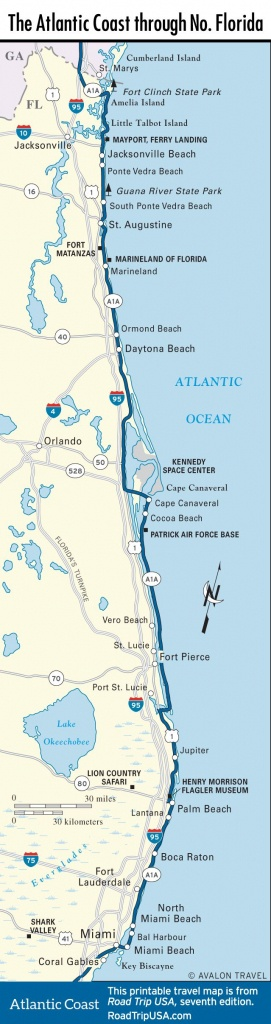 Map Of The Atlantic Coast Through Northern Florida. | Florida A1A - Marineland Florida Map