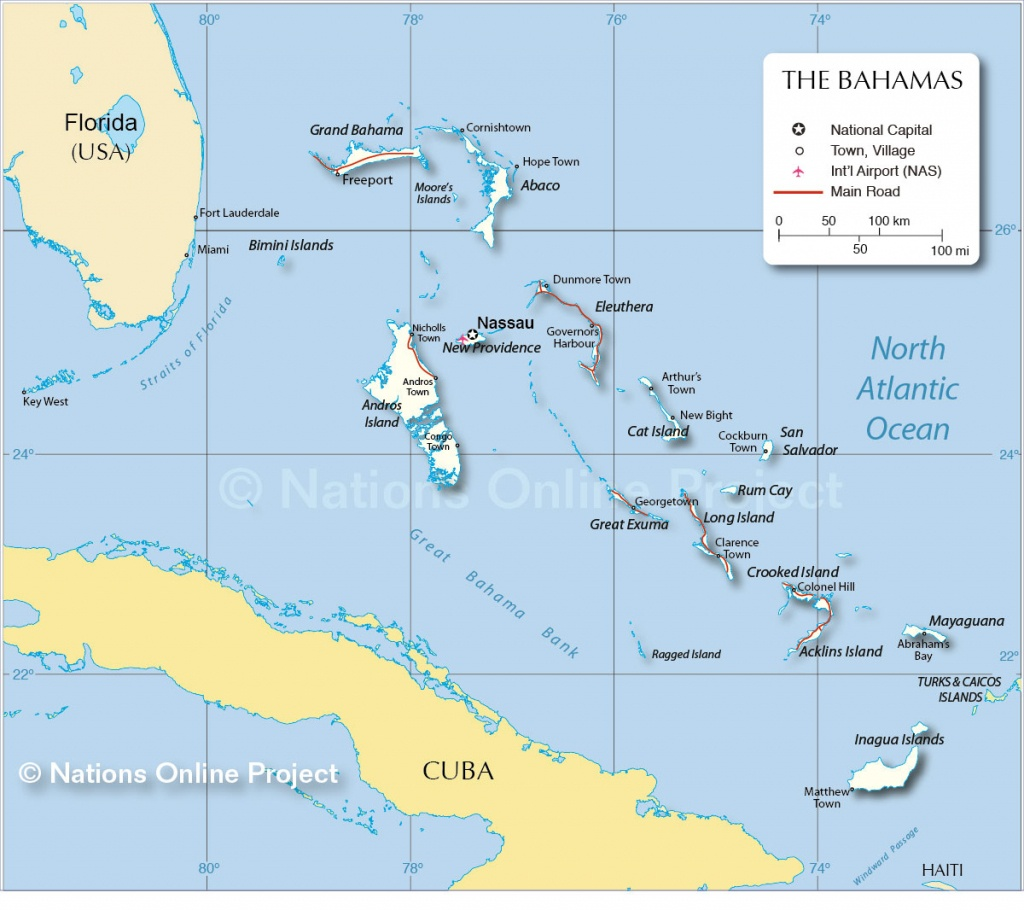 Map Of The Bahamas - Nations Online Project - Map Of Islands Off The Coast Of Florida