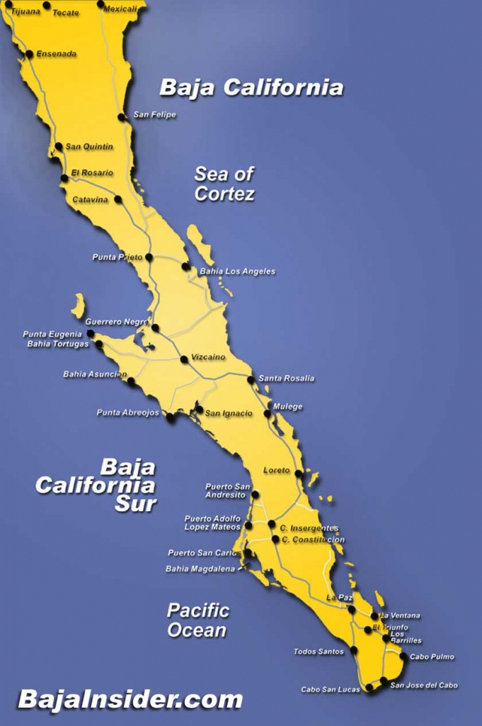 Map Of The Baja California Peninsula Of Mexico | Bajainsider - Map Of Baja California Mexico