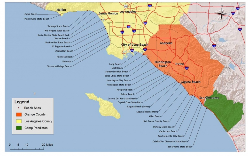 Map Of The Beaches In Southern California – Map Of Usa District - Southern California Beach Towns Map