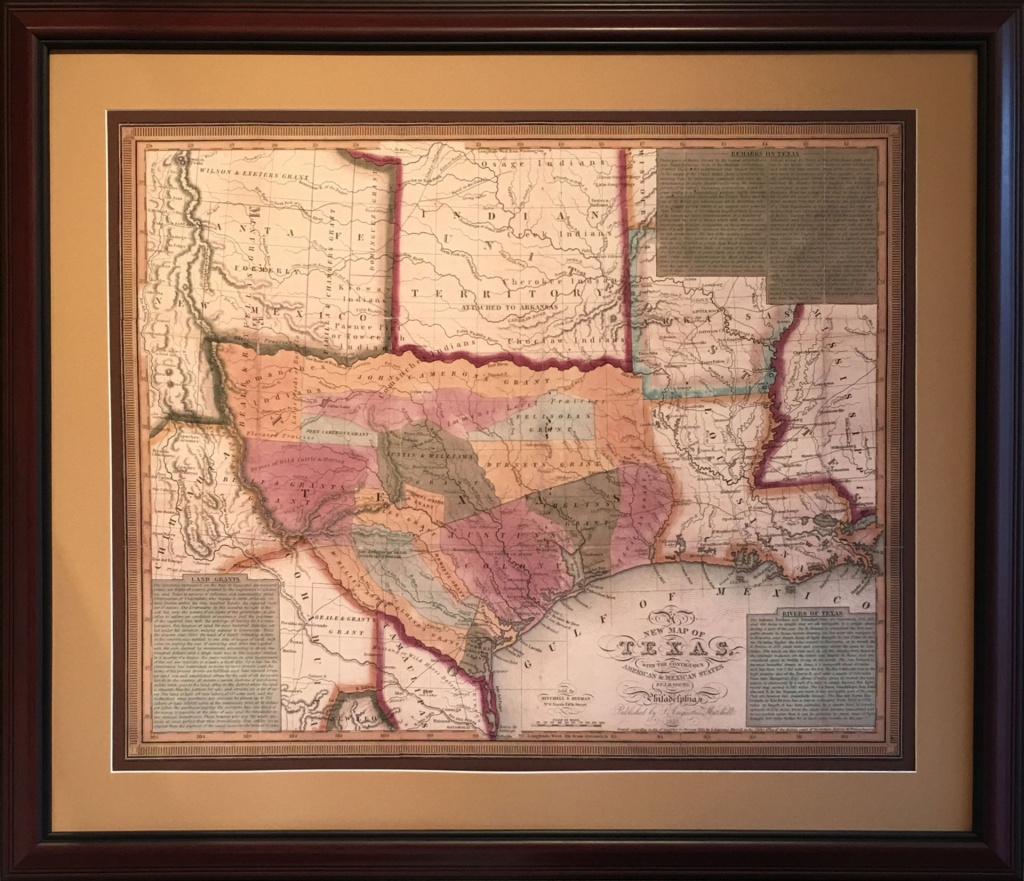 Map Of The Early Texas Land Grants - Gallery Of The Republic - Texas Map Artwork