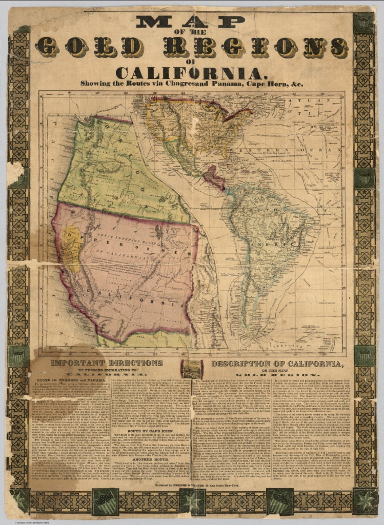 Map Of The Gold Regions Of California - David Rumsey Historical Map - California Gold Mines Map