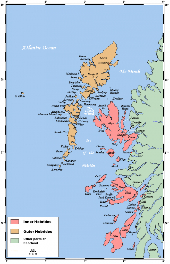Map Of The Inner And Outer Hebrides Off Of The West Coast Of - Printable Map Skye