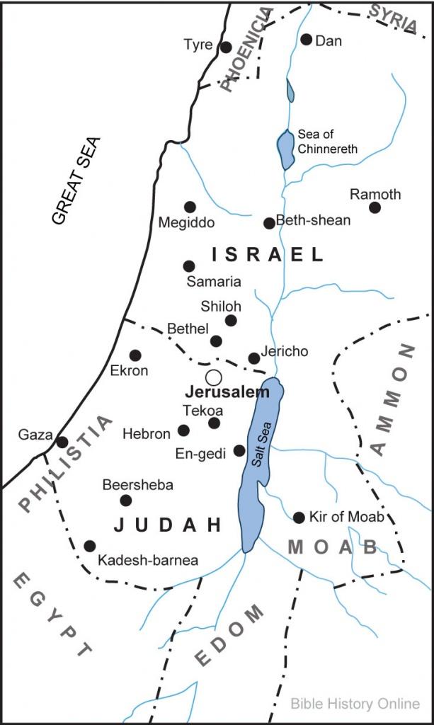 Map Of The Kingdoms Of Israel And Judah (Bible History Online) - Blank Map Israel Printable