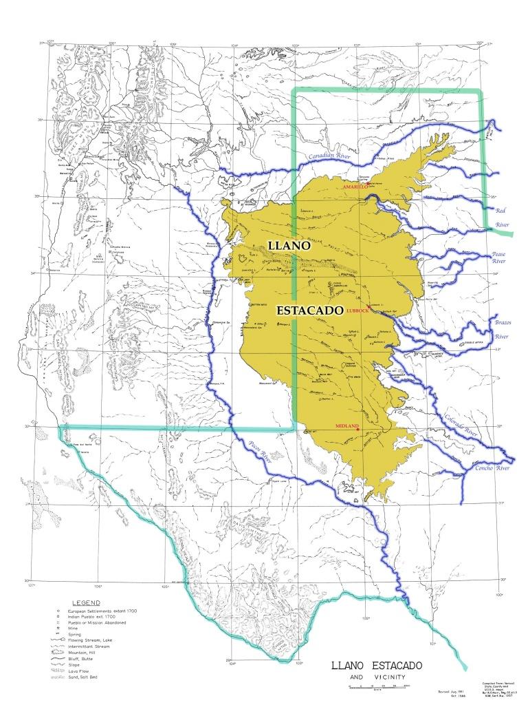 Map Of The Llano Estacado   Architecture   Llano Estacado, Quanah - Adobe Walls Texas Map
