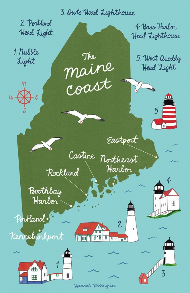 Map Of The Maine Coast! | * M Y _ W O R K * | Map Art, Art Prints Et Art - Printable Map Of Maine Lighthouses