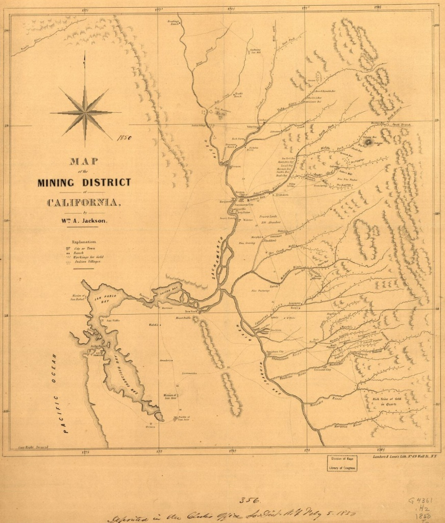 Map Of The Mining District Of California. | Library Of Congress - Map Of Abandoned Mines In California