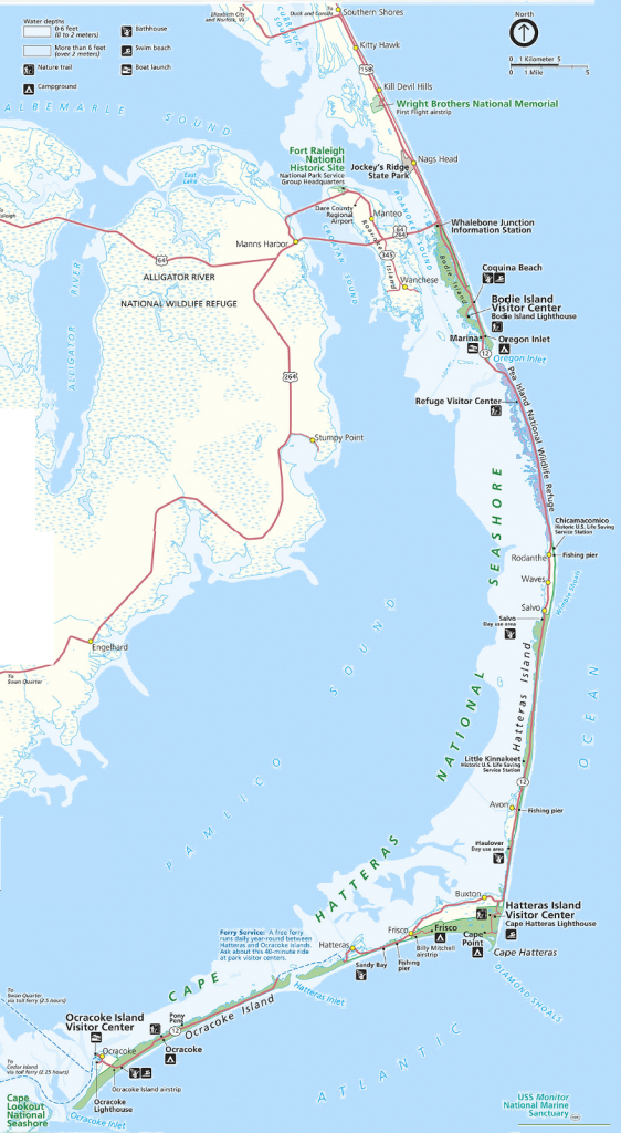 Map Of The Outer Banks Including Hatteras And Ocracoke Islands - Printable Map Of Ocean Isle Beach Nc