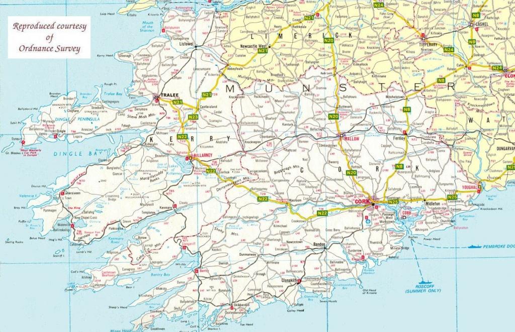 Map Of The South West Of Ireland   Maps   Ireland Travel, Ireland - Cork City Map Printable
