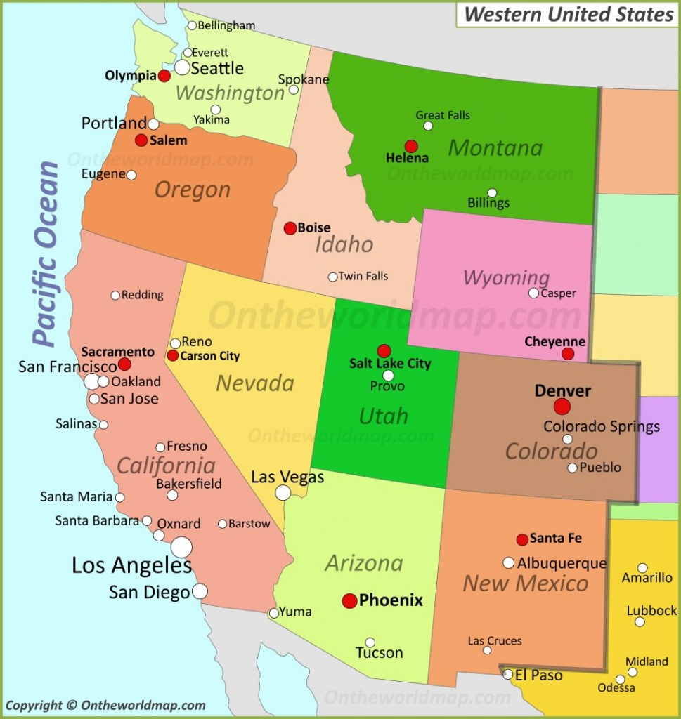 Map Of Western United States - Western United States Map Printable
