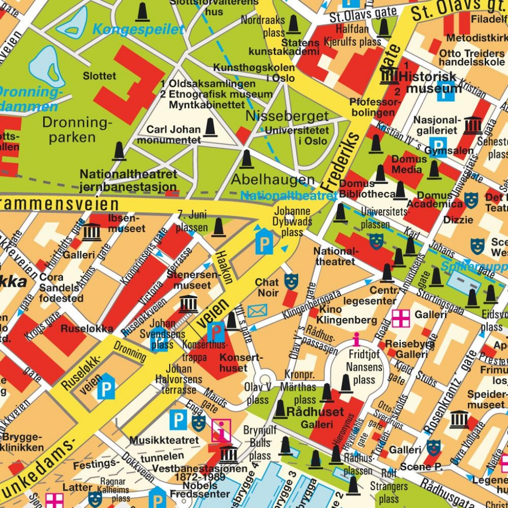 Map Oslo, Norway (City Center). Central Downtown Maps And Directions - Oslo Tourist Map Printable