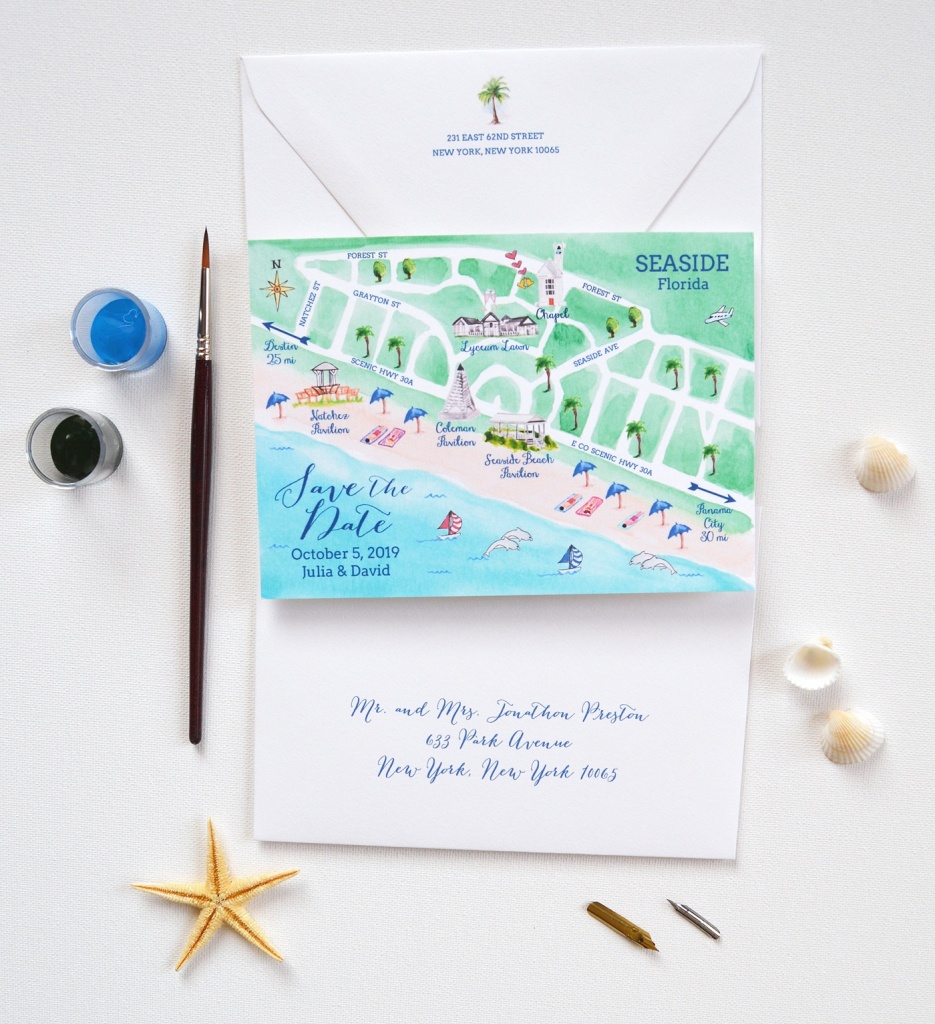 Map Save The Date, Seaside Wedding Save The Date | Mospens Studio - Seaside Florida Map