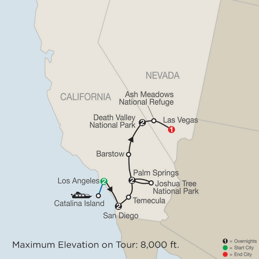 Map - Southern California With Death Valley & Joshua Tree National - Southern California National Parks Map