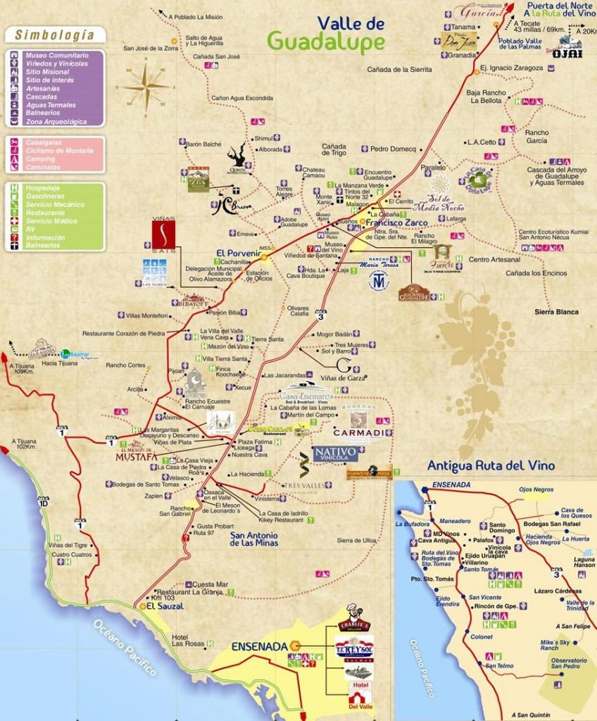 Mapa De La Ruta Del Vino De Baja California | Valle De Guadalupe - Baja California Norte Map