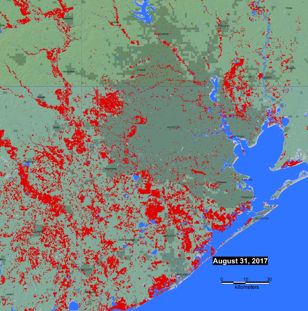 Mapped: Flooding In The Gulf Coast Via Satellite | The Kinder - Conroe Texas Flooding Map