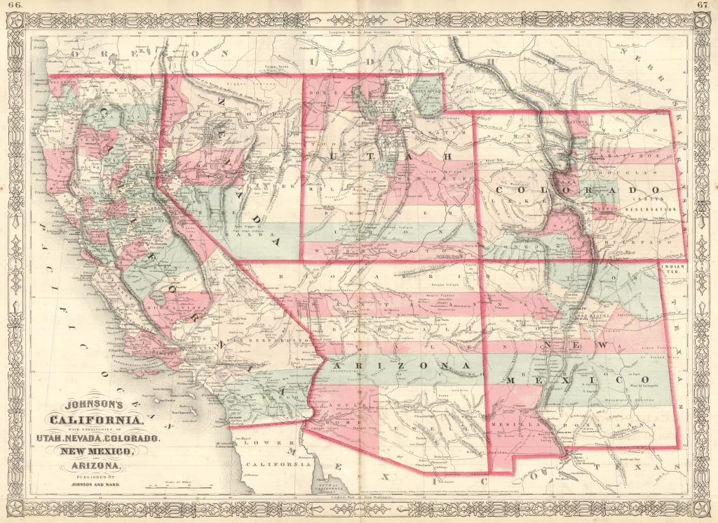 Maps Antique United States Us States Arizona - Road Map Of California Nevada And Arizona
