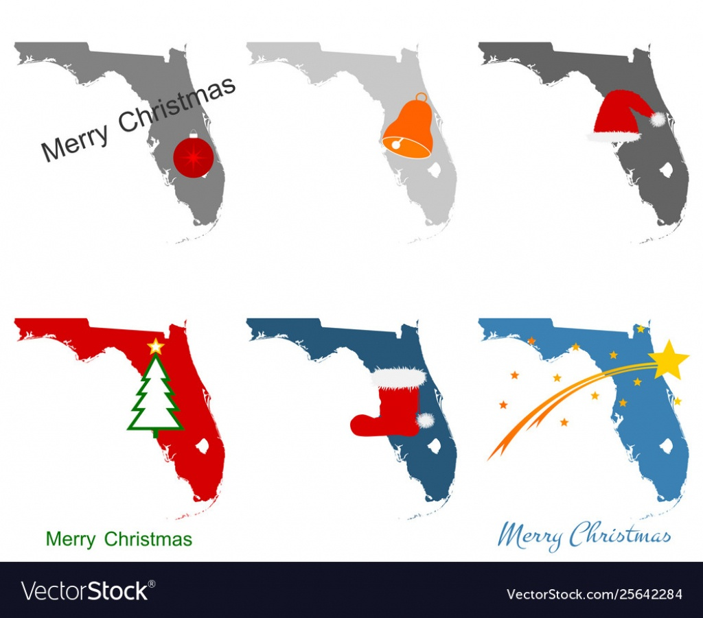 Maps Florida With Christmas Symbols Royalty Free Vector - Christmas Florida Map