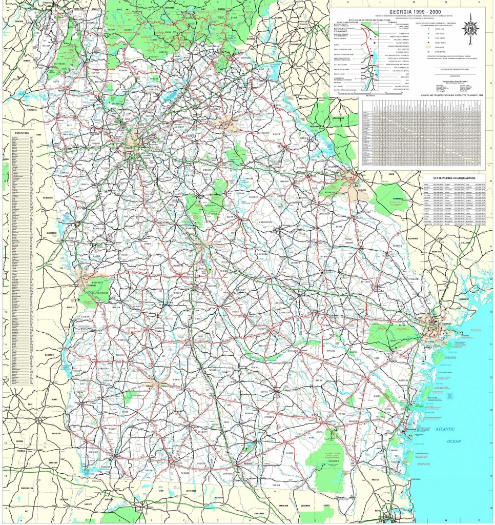 Maps - Georgia Department Of Transportation Highway Map 1999-2000 (3 - Georgia Road Map Printable