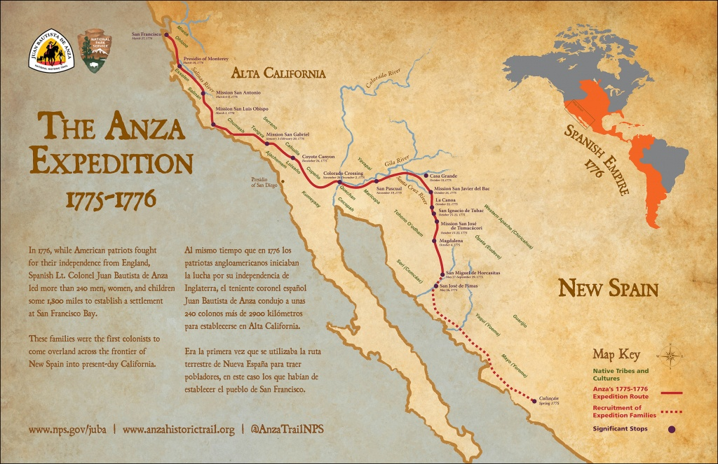 Maps - Juan Bautista De Anza National Historic Trail (U.s. National - California Trail Map