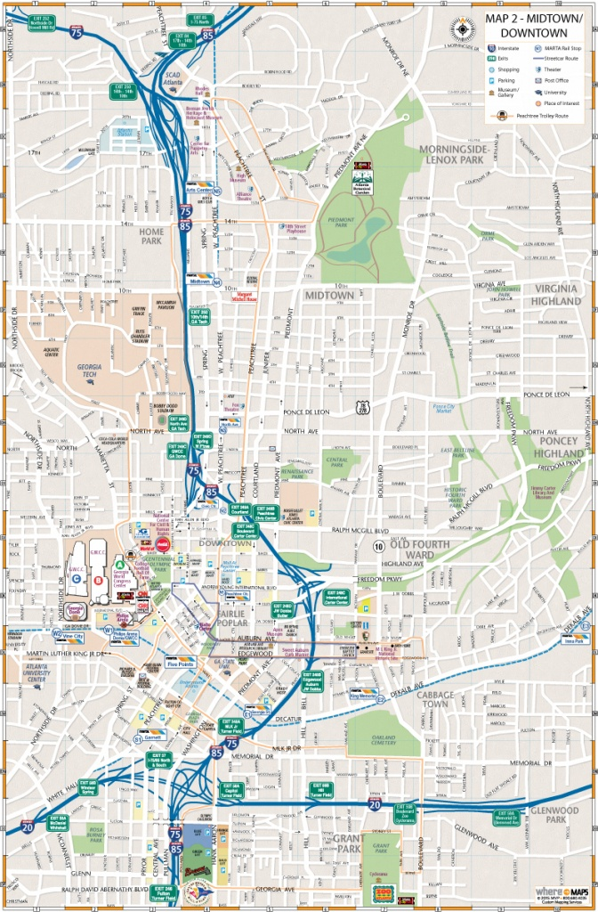 Maps Of Downtown Atlanta: Interactive And Printable Maps | Wheretraveler - Printable Map Of Atlanta