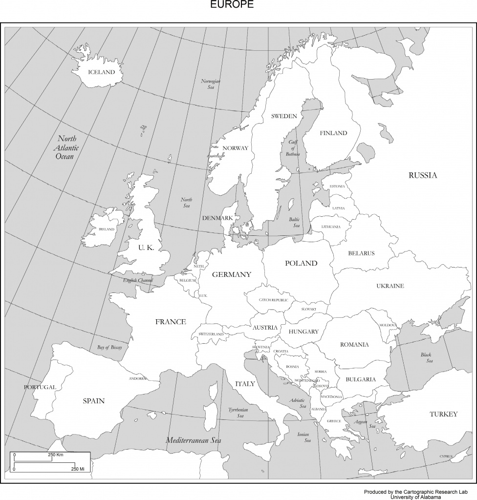 Maps Of Europe - Europe Map Black And White Printable