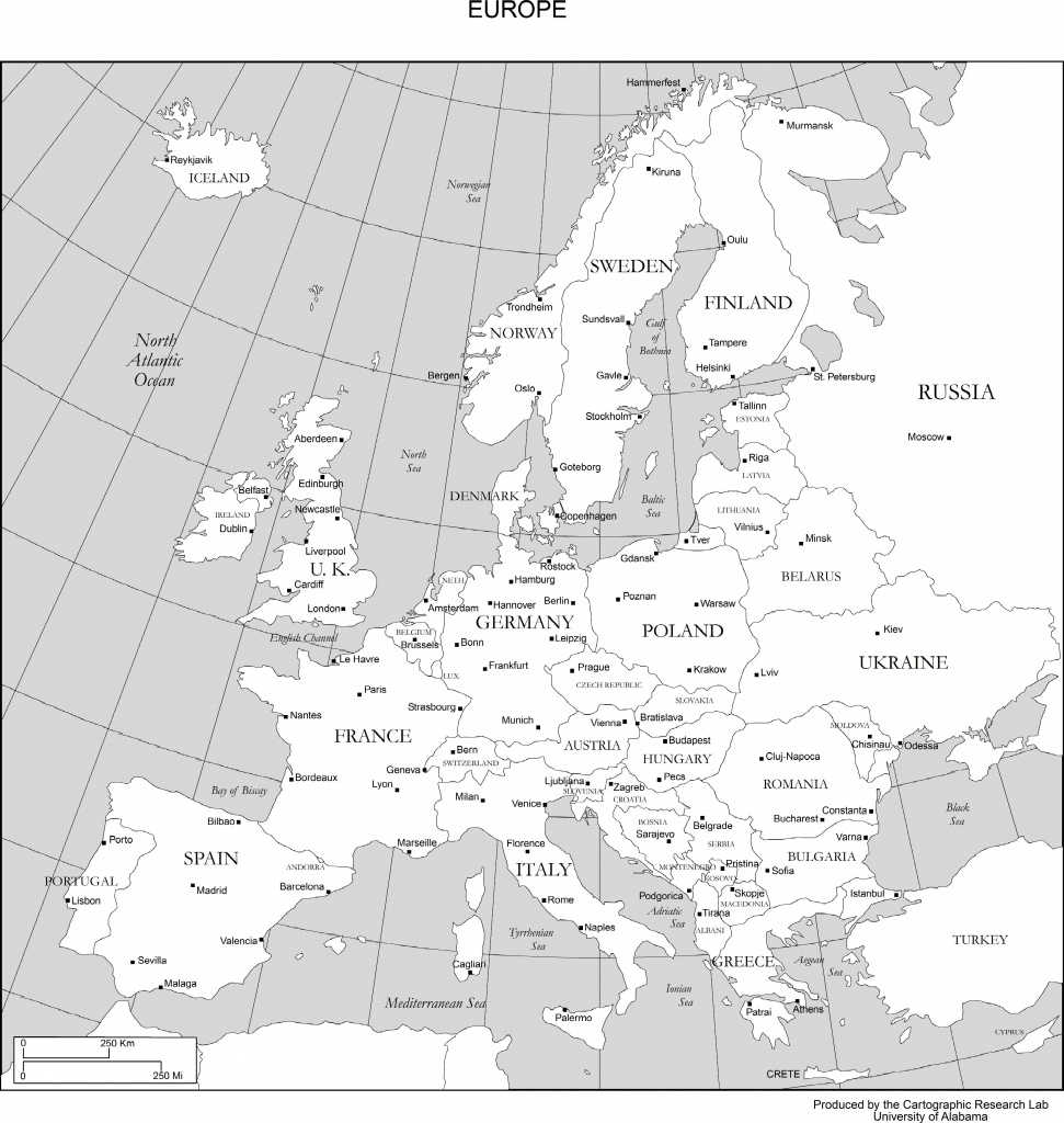 printable black white map europe countries | Free Printable
