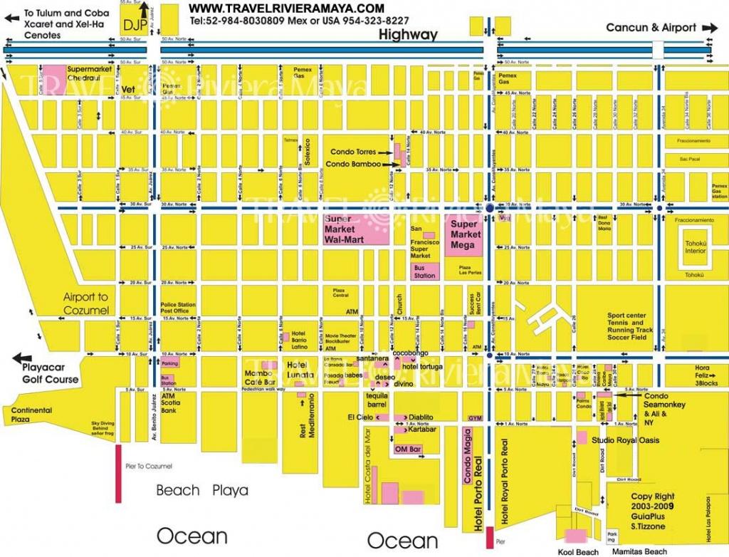 Maps Of Playa Del Carmen And Riviera Maya - Printable Map Of Playa Del Carmen