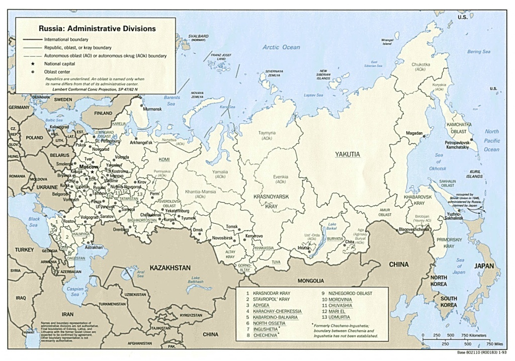 Maps Of Russia   Detailed Map Of Russia With Cities And Regions - Printable Map Of Russia