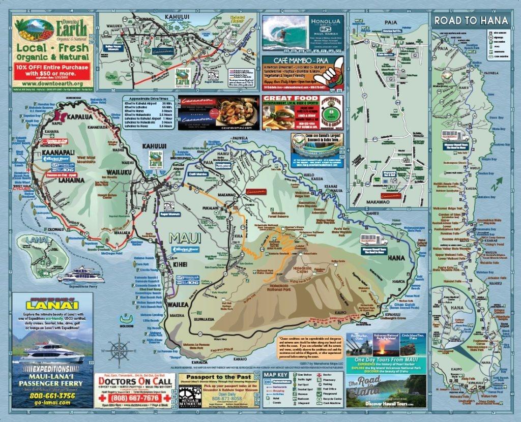 Maui Road Map   Menehune Maps - Printable Map Of Maui