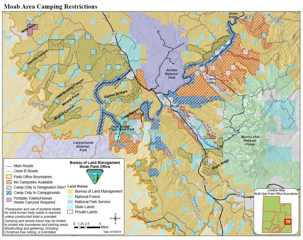Media: Public Room: Utah: Moab Camping Restrictions | Bureau Of Land - California Blm Camping Map