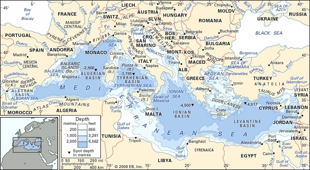 Mediterranean Sea Map Europe In Of The Seas To World Maps With At - Mediterranean Map Printable