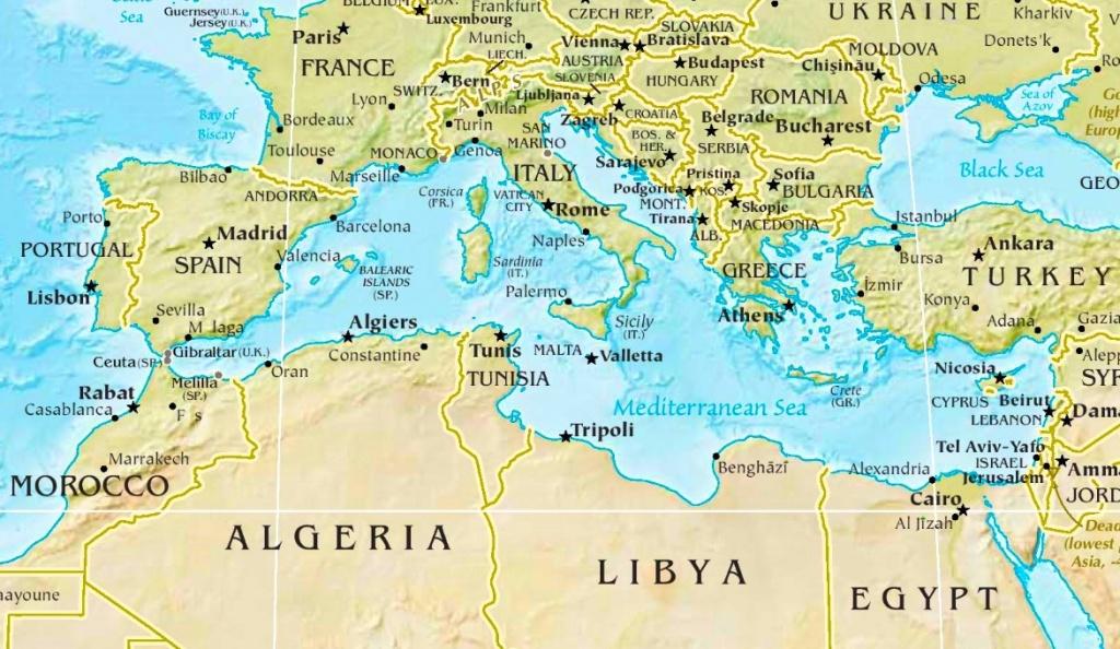 Mediterranean Sea Physical Map - Mediterranean Map Printable