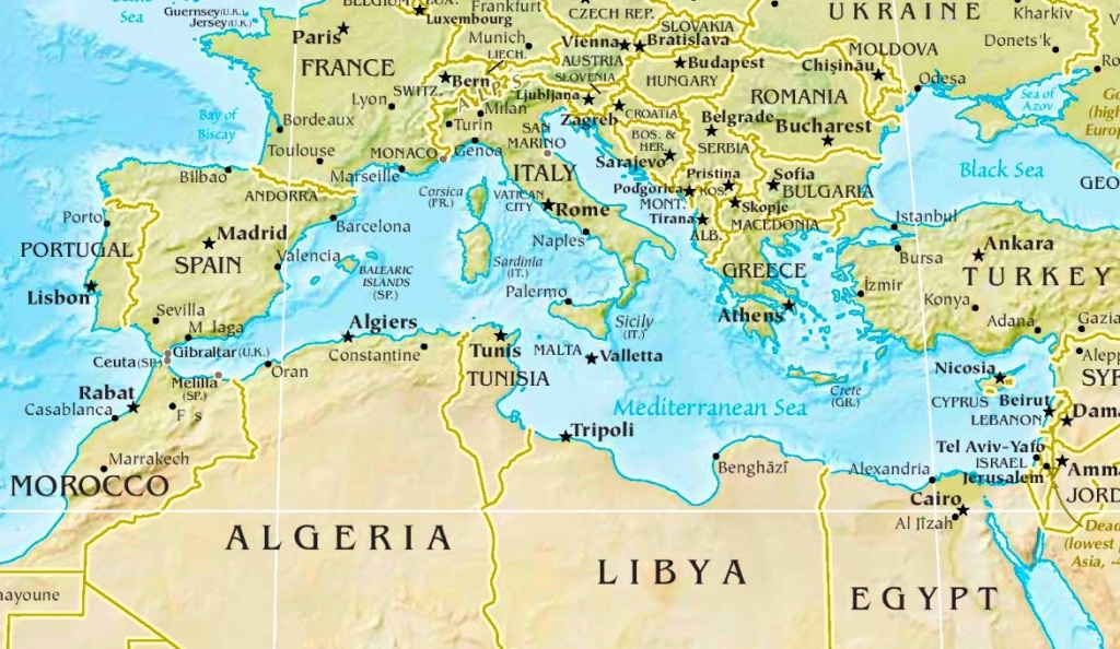 Mediterranean Sea Physical Map - Printable Map Of The Mediterranean Sea Area
